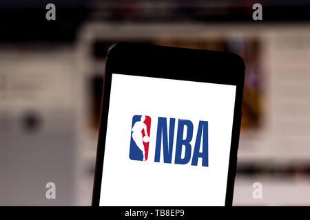 Brasilien. 30 Mai, 2019. In diesem Foto Illustration der National Basketball Association (NBA) Logo wird auf dem Smartphone angezeigt. Credit: Rafael Henrique/SOPA Images/ZUMA Draht/Alamy leben Nachrichten - Stockfoto