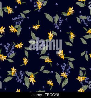 Schal Muster nahtlose floralen Muster. Wallpaper blühenden realistische isoliert Blumen Hand gezeichnet vintage Hintergrund. Vector Illustration. - Stockfoto