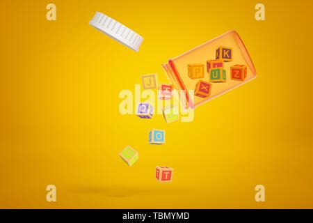 Transparent orange Pille jar in der Luft geschwenkt mit Deckel aus und kleine ABC blocks Herausfallen auf gelben Hintergrund. - Stockfoto