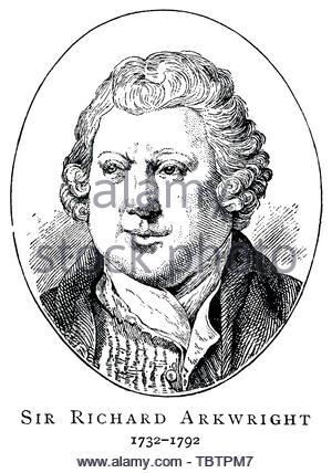 Sir Richard Arkwright Portrait, 1732 - 1792, war ein englischer Erfinder und Gründer der Baumwollspinnerei herstellen - Stockfoto
