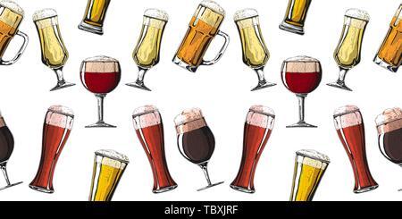 Nahtlose Muster mit unterschiedlichen Gläsern mit Bier, verschiedene Becher Bier. Vector Illustration einer Skizze Stil. - Stockfoto