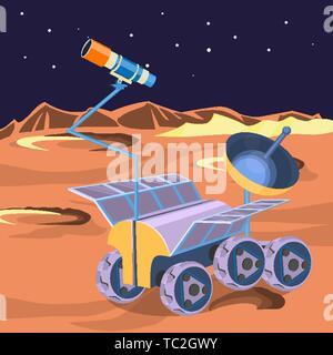 Space ship Planeten im Weltraum untersuchen. Erkunden der unfruchtbaren Mond auf einem Rover. Verschleißteil Raumschiff auf der Mondoberfläche, die Forscher von Kratern und sta - Stockfoto