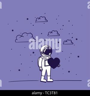 Astronaut zeichnen mit Herz design - Stockfoto