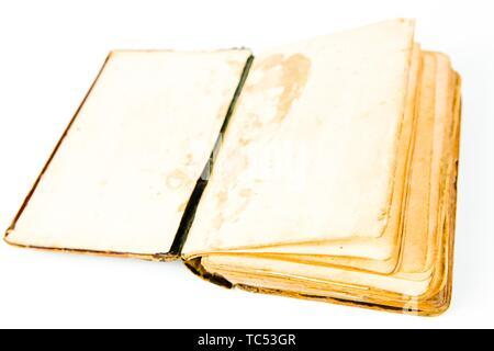 Leere Seiten von Open vintage Buch, strukturierte gelblichen Papier und gebrochene Buchbindung - Stockfoto