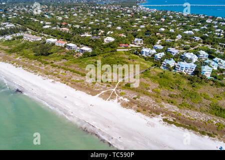 Sanibel Island Florida Golf von Mexiko Strand East Gulf Drive wohnungen Colony Beach Estates Kinzie Sanibel Causeway Brücke der Antenne overhead Vogelperspektive - Stockfoto