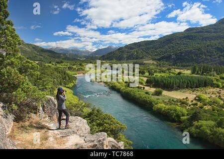 Blick auf den majestätischen Futaleufú Flusses, Futaleufú finden, Patagonien, Chile. - Stockfoto