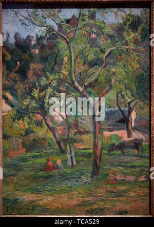 ''' Ein Obstgarten unter der Kirche Bihorel'', 1884, Paul Gauguin, Thyssen Bornemisza Museum, Madrid, Spanien, Europa - Stockfoto