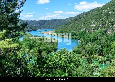 Panoramablick auf den Nationalpark Krka, einem der kroatischen Nationalparks in Sibenik, Kroatien. - Stockfoto
