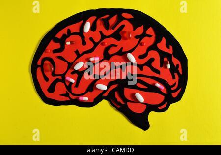 Drogen im Gehirn. - Stockfoto