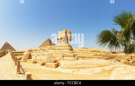 Die großen Pyramiden und die Große Sphinx Panorama, Ägypten. - Stockfoto