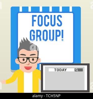 Handschrift Text schreiben Focus Group. Konzeptionelle Foto, montiert in der Diskussion über die Sprecher männlich Monitor mit Suche T teilnehmen - Stockfoto