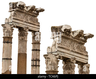 Tempel der Venus Genetrix, isoliert auf Weiss, 46 v. Chr. mit Säulen und Kapitelle im korinthischen Stil, Forum Romanum, Rom, Italien, Latium, Europa - Stockfoto