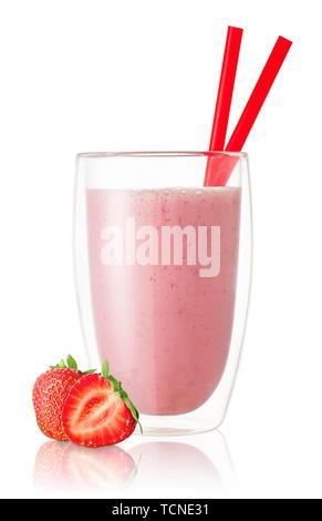 Strawberry Smoothie in Glas - Stockfoto