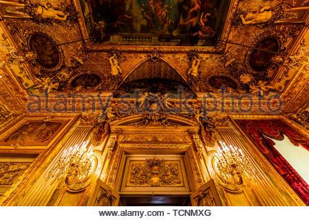 Grand Salon, Schlafzimmer, Napoleon III, Louvre, Paris, Frankreich. - Stockfoto