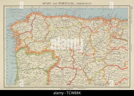 Galizien Karte.Iberia N West Spanien Portugal Galizien Asturien Kastilien Leon