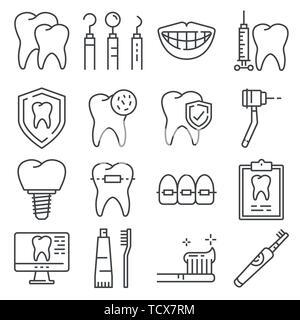 Zeile für Symbole der Zahnpflege und Zahnarzt Dienstleistungen auf weißem Hintergrund - Stockfoto