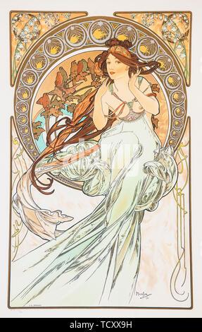 La Musica (aus der Serie der Künste), 1898. Schöpfer: Mucha, Alfons Maria (1860-1939). - Stockfoto