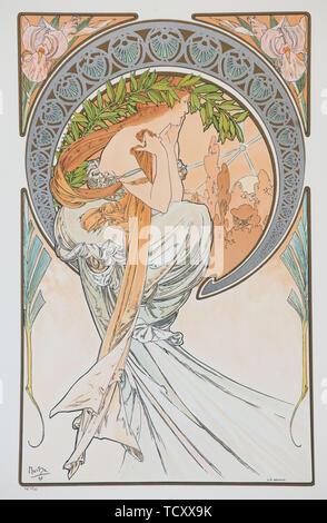 La Poesia (aus der Serie der Künste), 1898. Schöpfer: Mucha, Alfons Maria (1860-1939). - Stockfoto