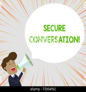 Text Zeichen angezeigt Secure Conversation. Business Foto text Sichere verschlüsselte Kommunikation zwischen Web Services junge Mann schreit in Megaphon Floa - Stockfoto