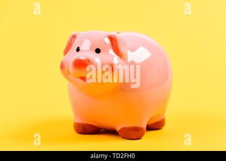 Persönliche Buchhaltung Buchhalter und Familie Haushalt. Piggy Bank Symbol für Geld zu sparen. Finanzielle Bildung. Finanzen und Investitionen Bank. Bessere Möglichkeit zur Bank. Sparschwein adorable Pink Pig hautnah. - Stockfoto