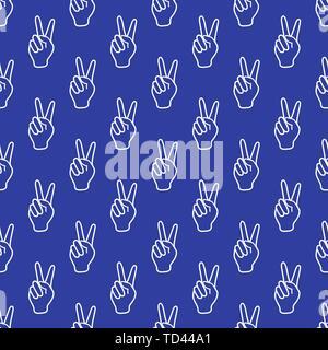 Die nahtlose Vektor Muster mit Sieg Geste. Zwei Finger angehoben. Gesten des Friedens und der Erfolg. Design für Textilwaren, Banner, Poster oder Drucken. - Stockfoto