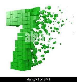 Nummer 7 geformte Datenbaustein. Version mit grünen Würfel. 3D-Pixel style Vector Illustration. Geeignet für blockchain, Technik, Computer und abstrakte t - Stockfoto