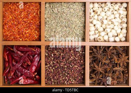 Alle Arten von Gewürzen, Chinesische Gewürze, hohen Winkel overhead Shot - Stockfoto