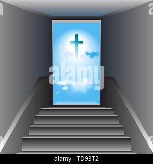Graue Treppe. Tür öffnen. Himmel. Blauer Himmel mit weißen Wolken. Das Kreuz von Jesus Christus im Zentrum. - Stockfoto