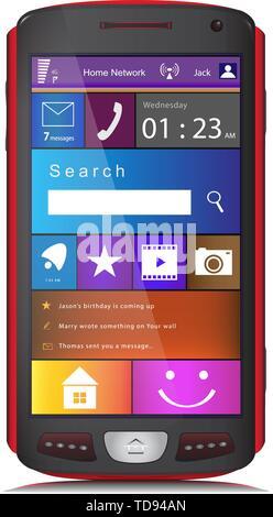 Touchscreen Handy mit großen U-Symbole auf dem Display. Vector Illustration, auf weißem Hintergrund. - Stockfoto