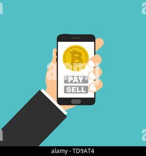 Smartphone in der Hand. Bitcoin Konzept sall Pay - Stockfoto