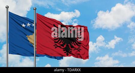 Kosovo Vs Albanien Albanische Smoky Mystic Flaggen Nebeneinander