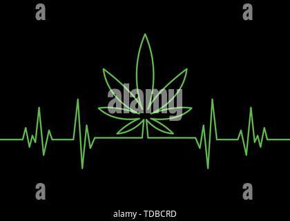 Marihuana Blatt heartbeat Puls überwachen. Vector Illustration Elektrokardiogramm Konzept. Grüne puls Umrisse auf schwarzem Hintergrund isoliert. Für web, Verpackung, - Stockfoto
