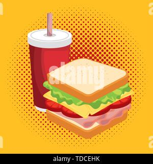 Sandwich combo Cartoon vector Illustrator - Stockfoto