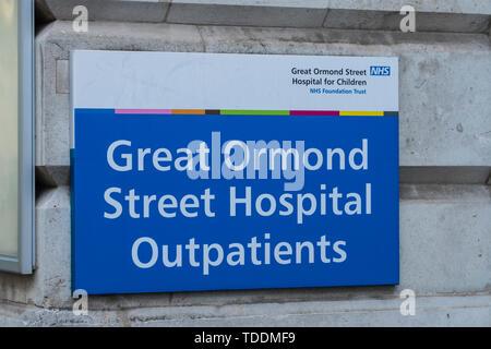 Great Ormond Street Hospital für Kinder, Bloomsbury, London, England, Großbritannien - Stockfoto