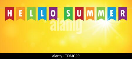 Hallo Summer Party Flaggen Banner auf Gelb sunny Hintergrund Vektor-illustration EPS 10. - Stockfoto