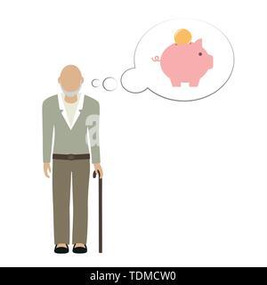 Alter Mann opa Charakter Denken über das Speichern von Geld im Sparschwein Vektor-illustration EPS 10. - Stockfoto