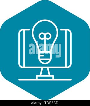 Blog Glühlampe Idee Symbol, outline Style - Stockfoto