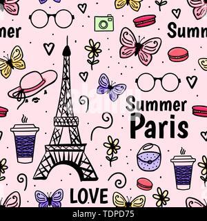 Sommer Paris mit Eiffelturm, Schmetterling. Vektor nahtlose Muster. Weiblich rosa Hintergrund. - Stockfoto