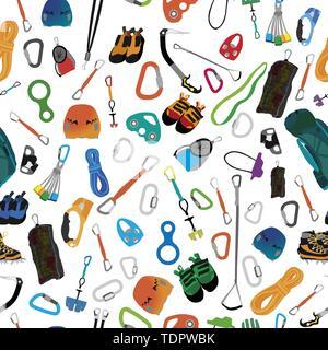 Abbildung: Verschiedene Ausrüstung und Bekleidung für Bergsport, die nahtlose Ornament. Vektor - Stockfoto