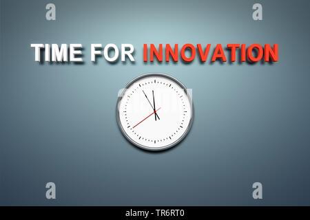 Uhr mit Englischer Titel Zeit für Innovation - Stockfoto