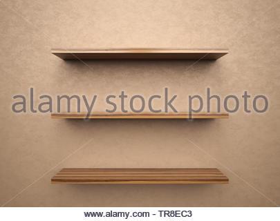 Leeren Bücherregal mit copy Space, 3D-Rendering - Stockfoto