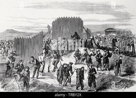 Nationalen Schutz wieder in Paris durch die Böschungen der Western Railway nach dem Mont-Valerien Affäre während der Pariser Kommune, 1871 - Stockfoto