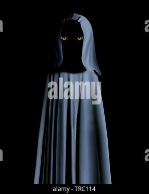 Gruselige Monster in mit Kapuze Umhang mit leuchtend gelben Augen. Auf schwarzem Hintergrund. 3D-Rendering - Stockfoto