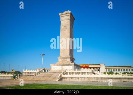 Peking, China - 5. Mai 2019: Denkmal für die Helden des Volkes, ein 10-stöckiges Obelisk zu den Märtyrern des revolutionären Kampfes während des 19. und 20. c - Stockfoto