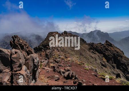 Roque de Los Muchachos vulkanischen Berge, vulkanische Landschaft, La Palma, Kanarische Inseln, Spanien - Stockfoto