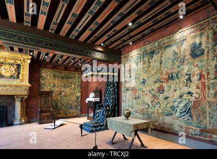 Zimmer von König von Schloss Blois, Blois, Loir-et-Cher Abteilung, Center-Val de Loire, Frankreich, Europa - Stockfoto