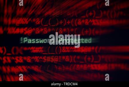 Passwort Sicherheit cyber Dieb Schutz verification Data System Alert! Kennwort auf Bildschirm Hacking auf geschützten Computer - Stockfoto