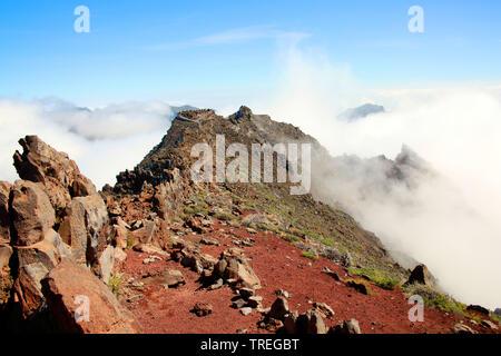 Aussichtspunkt auf dem Gipfel des Roque de Los Muchachos, Kanarische Inseln, La Palma, El Paso - Stockfoto