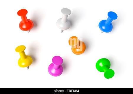 3D Computer Grafik, Stifte in verschiedenen Farben auf weißem Hintergrund - Stockfoto