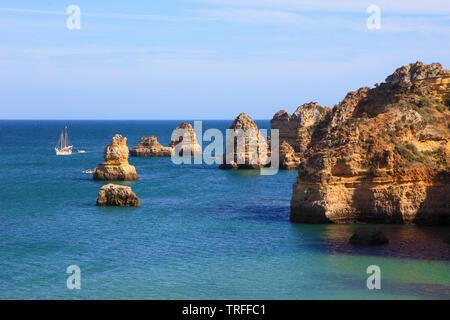 Portugal, Algarve, Lagos, Praia da Dona Ana, - Stockfoto